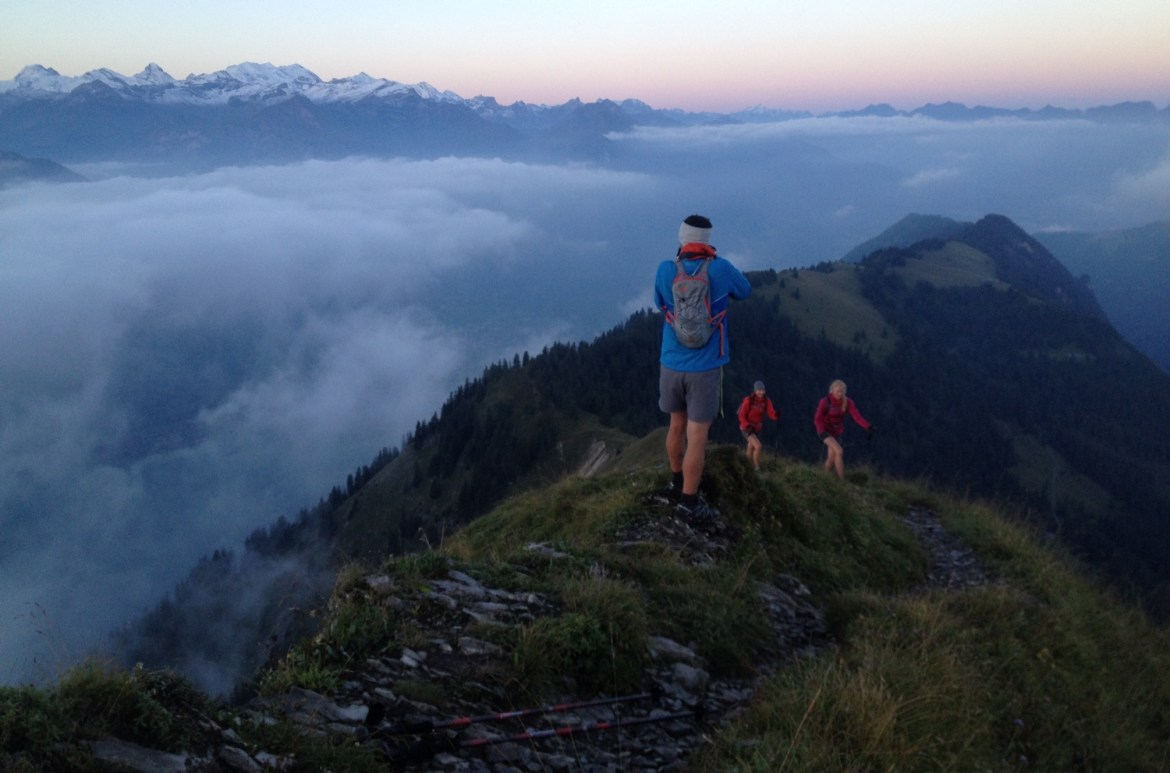 hikers on the west side of Switzerland's Hardergrat
