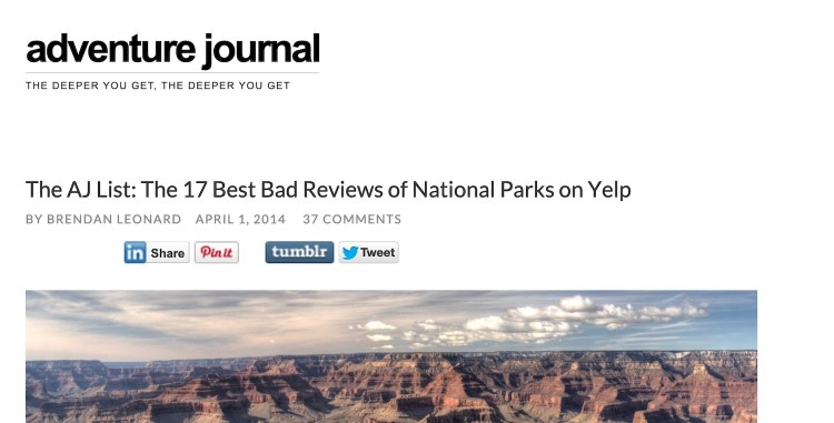 screen capture from The 17 Best Bad Reviews of National Parks on Yelp April 1, 2014