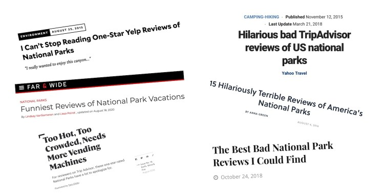 """screen captures of """"bad reviews of national parks"""" headlines in online publications"""