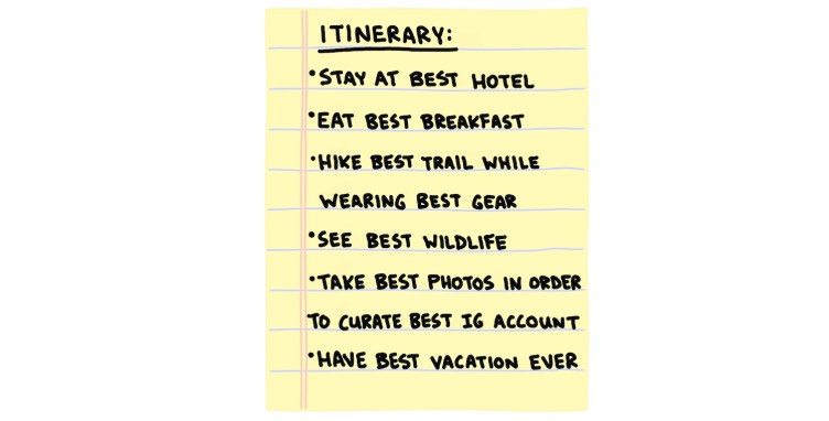 """hand-drawn itinerary of the """"best vacation ever"""""""