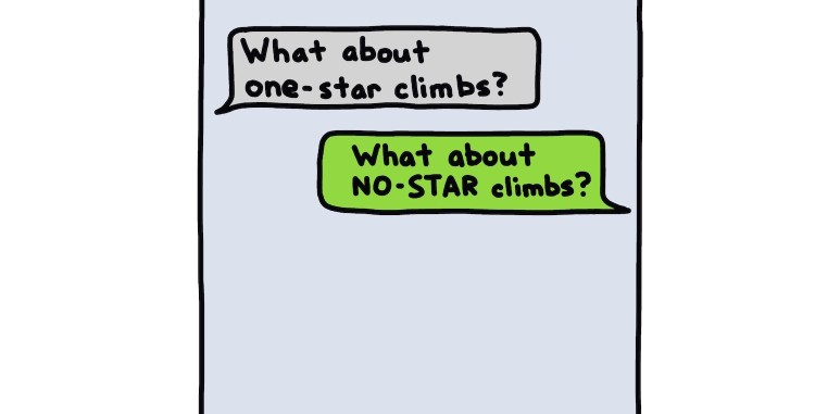 drawing of text messages between climbers planning no-star tuesdays