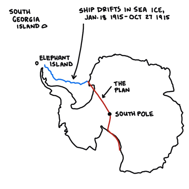 map of the imperial trans-antarctic expedition