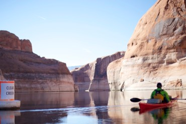 paddling in clear creek in glen canyon
