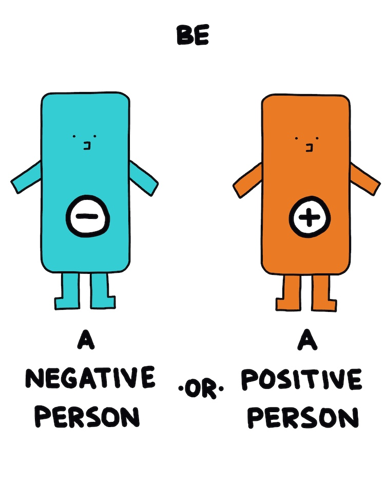 drawing of a negative person and a positive person
