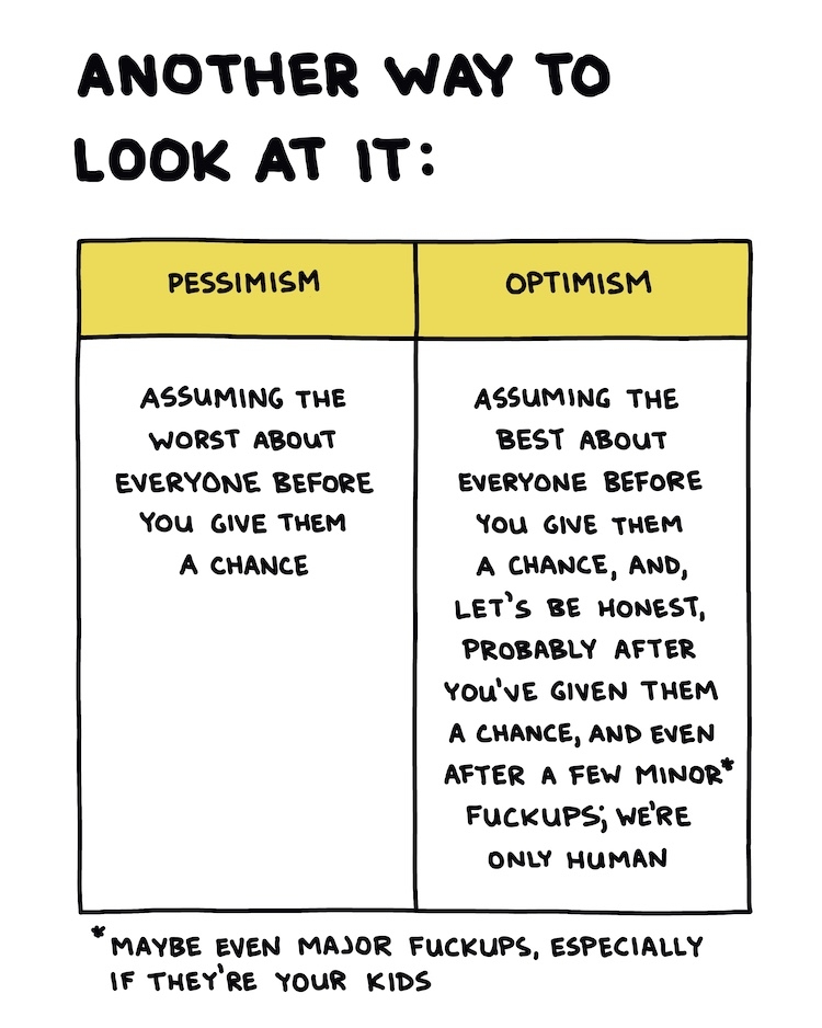 handwritten text and comparison of pessimism vs optimism