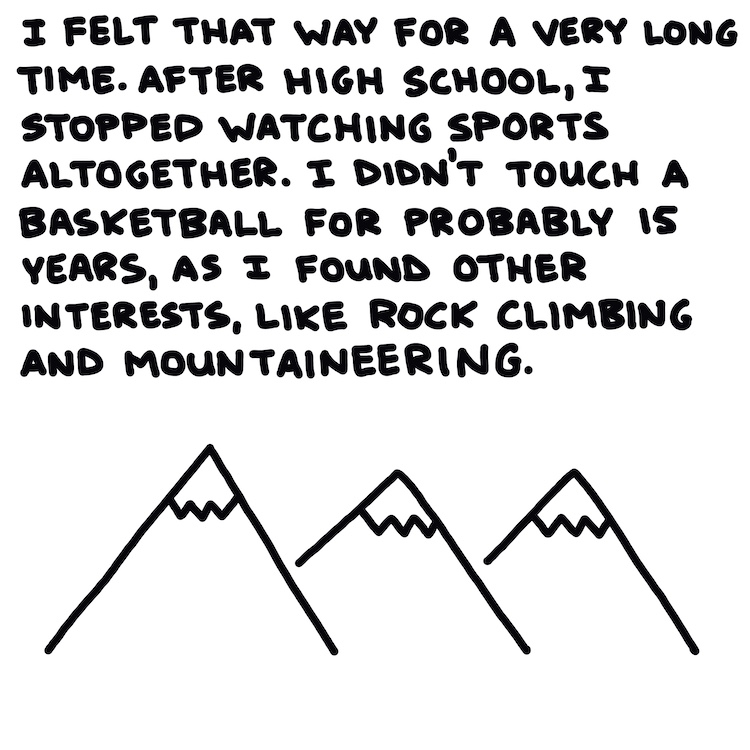 handwritten text and drawing of mountains