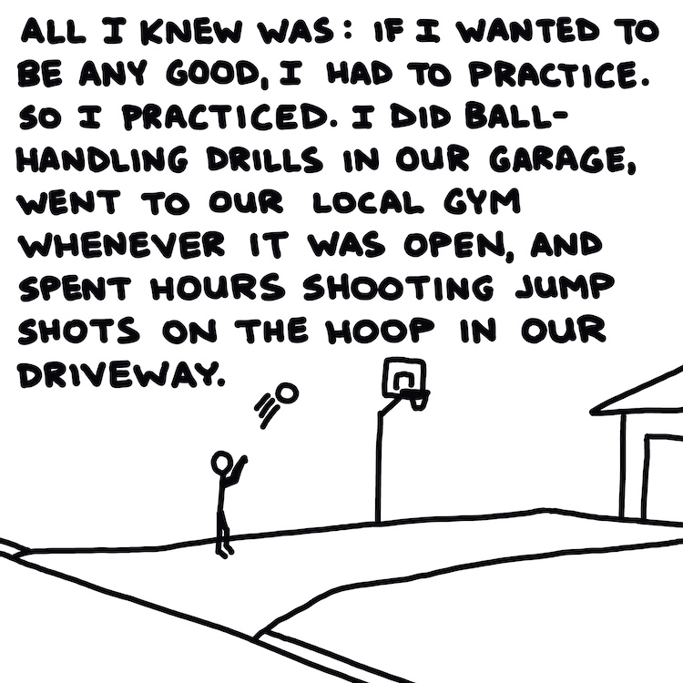 handwritten text and drawing of basketball player practicing in driveway