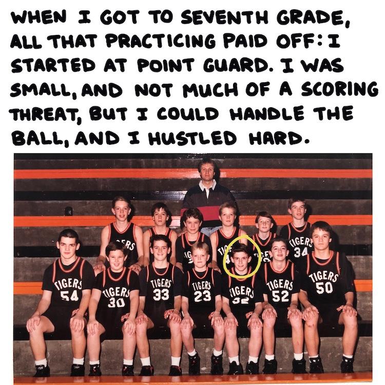 handwritten text and basketball team photo