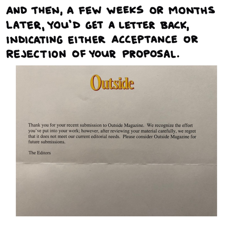 handwritten text and photo of rejection letter