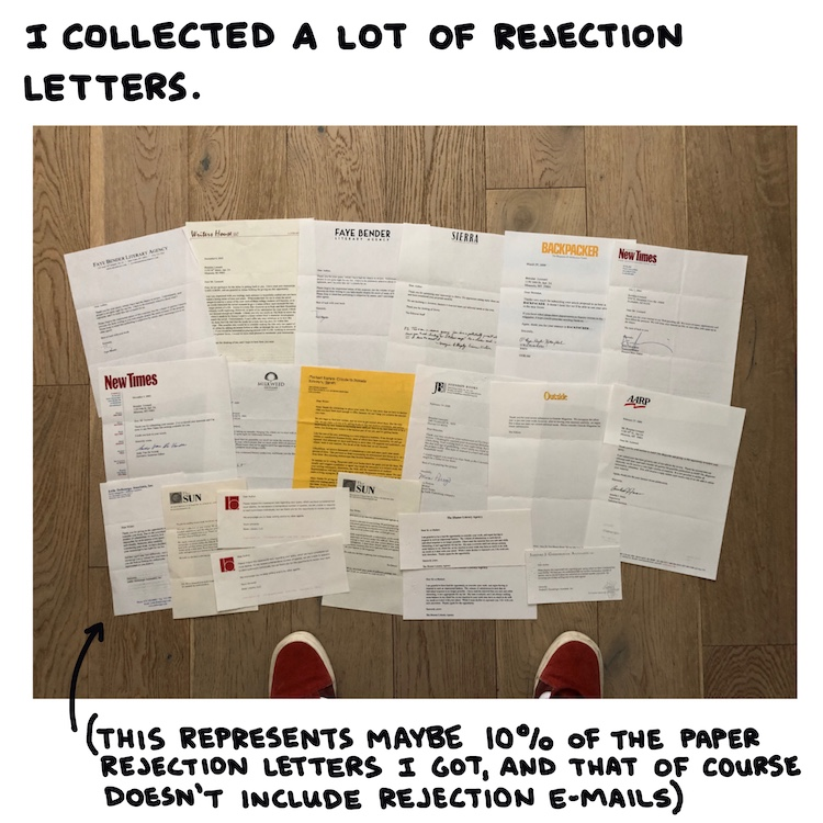handwritten text and photo of rejection letters