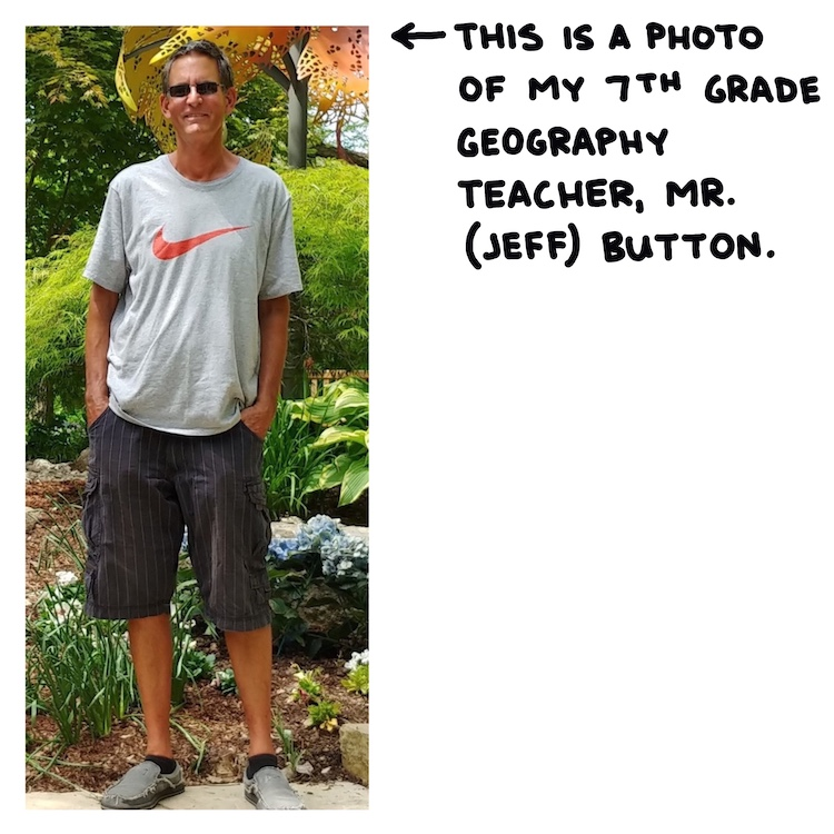 handwritten text and photo of mr. button