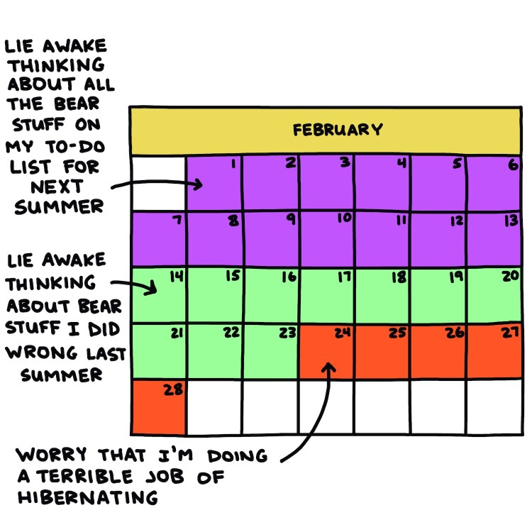 semi-rad calendar: If I were a hibernating bear, February