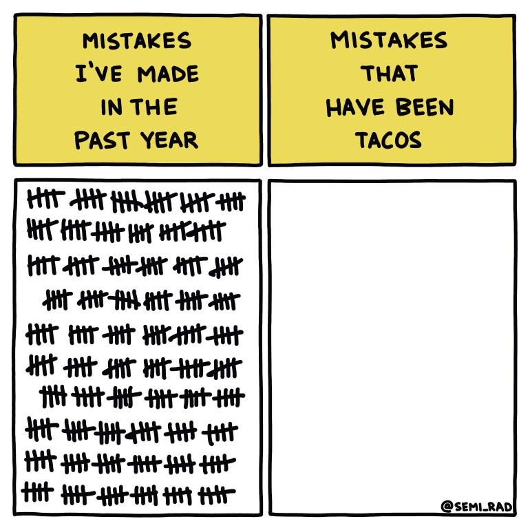 semi-rad chart: mistakes I've made in the past year vs. mistakes that have been tacos