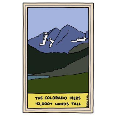 semi-rad illustration colorado 14ers measured by hands