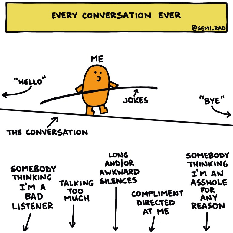 semi-rad illustration: Every conversation ever