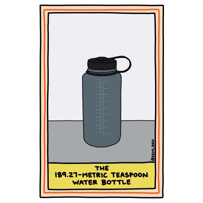 semi-rad illustration water bottle metric teaspoons