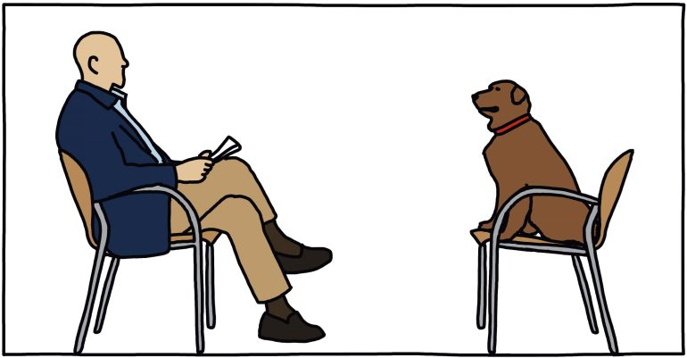 drawing of person interviewing dog