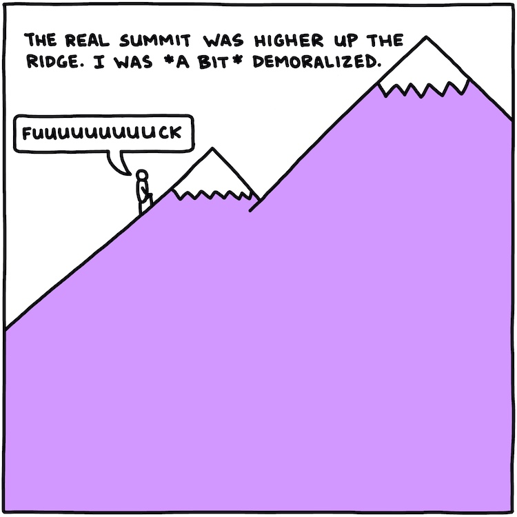 drawing of climber on mountain with text: the real summit was higher up the ridge. I was *a bit* demoralized