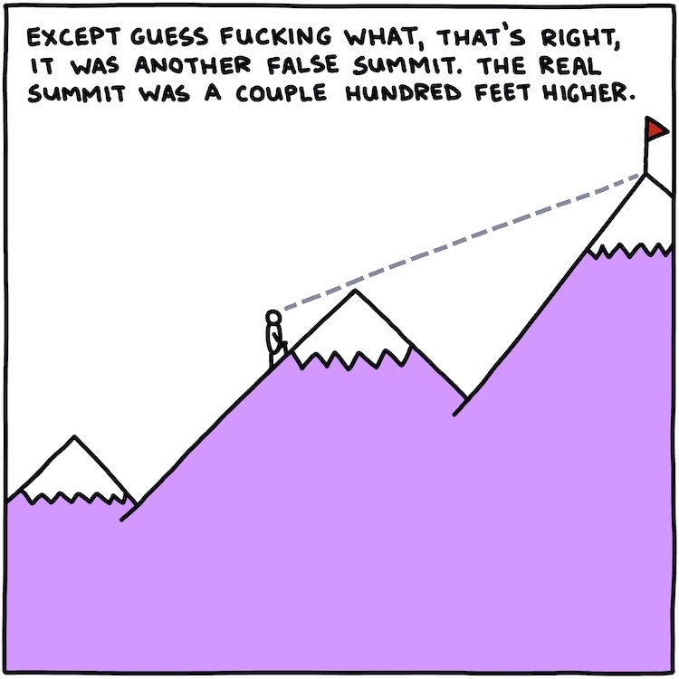 drawing of climber on mountain with text: except guess fucking what, that's right, it was another false summit. The real summit was a couple hundred feet higher.