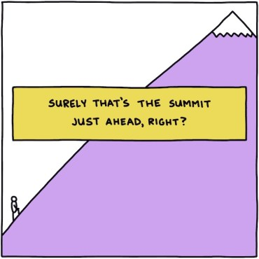 hand drawn title: surely that's the summit just ahead, right?
