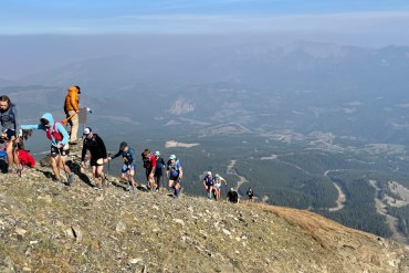 photo of runners ascending the east ridge of Lone Peak during the 2021 Rut 50K