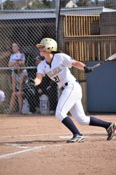 Alise Hale gets a big hit for the Bulldogs