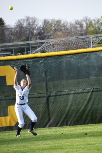 Caroline Hirth gets the catch in left