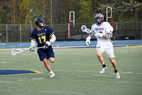 Nate Bero runs the ball up the field