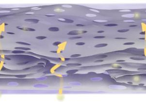 Close-up view of holey graphene framework film; arrows highlight ion-transport pathway short-cuts.  (Source: UCLA CNSI)