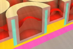 This rendering shows the metallic dielectric photonic crystal that stores solar energy as heat. (Source: MIT)
