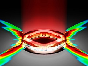 Engineers at Princeton found that carefully shaping the area to which energy is delivered within a laser could dramatically improve the laser's performance. In the case illustrated, pumping energy into a diamond shape produces a powerful directional emission of light from the laser. (Source: Princeton University, Department of Electrical Engineering)