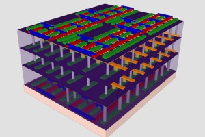 """Stanford engineers have created a four-layer prototype high-rise chip. In this representation, the bottom and top layers are logic transistors. Sandwiched between them are two layers of memory. The vertical tubes are nanoscale electronic """"elevators"""" that connect logic and memory, allowing them to work together to solve problems. (Source: Stanford University)"""