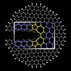 """Graphene nanoribbons can be enticed to form favorable """"reconstructed"""" edges by pulling them apart with the right force and at the right temperature, according to researchers at Rice University. The illustration shows the crack at the edge that begins the formation of five- and seven-atom pair under the right conditions. (Source: Rice University)"""