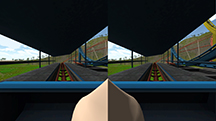 """Virtual reality games often cause simulator sickness – inducing vertigo and sometimes nausea - but new research findings point to a potential strategy to ease the affliction: insert an image of a virtual human nose, or """"nasum virtualis,"""" into the center of the video display. This screenshot is from one application where the user rides a roller coaster. Findings suggest the virtual nose reduces simulator sickness. (Source: Purdue University)"""