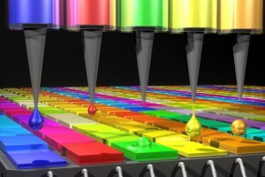 In this illustration, the Quantum Dot (QD) spectrometer device is printing QD filters — a key fabrication step. Other spectrometer approaches have complicated systems in order to create the optical structures needed. Here in the QD spectrometer approach, the optical structure — QD filters — are generated by printing liquid droplets.This approach is unique and advantageous in terms of flexibility, simplicity, and cost reduction. (Source: MIT)