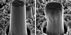 Good deformability: a pillar with a diameter of one micrometer before (left) and after (right) high-pressure mechanical deformation. (Source: ETH Zurich)