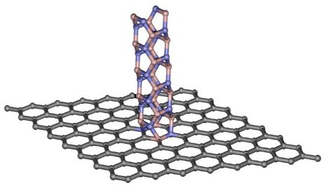 The chemical structures of graphene (gray) and boron nitride nanotubes (pink and purple) were key to creating the digital switch. (Source: Michigan Tech)