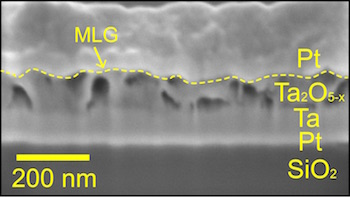 A layered structure of tantalum oxide, multilayer graphene and platinum is the basis for a new type of memory developed at Rice University. The memory device seen in this electron microscope image overcomes crosstalk problems that cause read errors. (Source: Tour Group/Rice University)