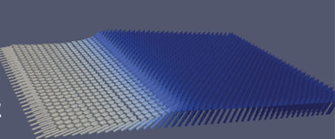This image taken from a computer simulation shows nanomagnets tilted at various angles, with the white regions indicating greater angles of tilt. Researchers have found that even a small tilt of 2 degrees will facilitate magnetic switching. (Source: Samuel Smith/UC Berkeley)