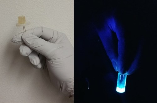 Left: A small light emitting diode fabricated from carbon dots. Right: The luminescence of carbon dots can be seen when irradiated with UV light. (Source: Prashant Sarswat/University of Utah)