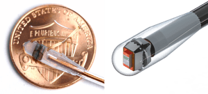 Image of the sensor encapsulated into the catheter with a USpenny for scale, and (right) a photorealistic rendering of the molded system. (Source: Harvard)