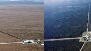 Aerial views showing the locations and extents of the LIGO Hanford and LIGO Livingston interferometers. (Source: LIGO)