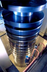 NIST's 4.45-million newton (one million pound) deadweight machine when fully assembled. (Source: NIST)