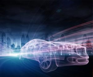 Sports Car speeding in Urban highway
