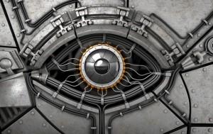 Fantasy robot's eye. 3d illustration