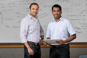 """Shreyas Sundaram, at left, an assistant professor in Purdue University's School of Electrical and Computer Engineering, and doctoral student Ashish Hota are performing research in game theory that harnesses the Nash equilibrium, developed by Nobel laureate John Nash, whose life was chronicled in the film """"A Beautiful Mind."""" (Source: Purdue University)"""