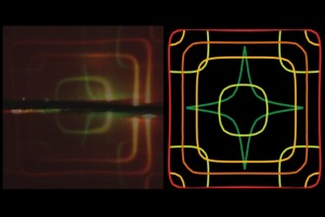 This image shows theoretical (right) and experimental (left) iso-frequency contours of a photonic crystal slabs superimposed on each other. (Source: MIT)