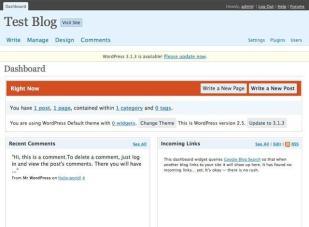 WordPress 2.5 do Dashboard