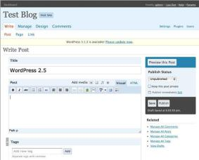 WordPress 2.5 Tela de Mensagem