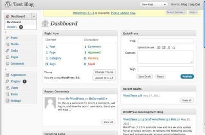 WordPress 3.0 do Dashboard